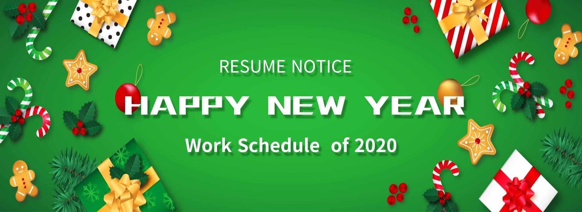Work Schedule Notice of 2020